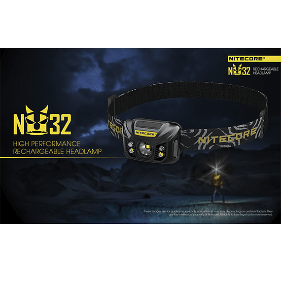 Linterna Frontal LED Nitecore 550 lúmenes Recargable USB NU32- Image 26