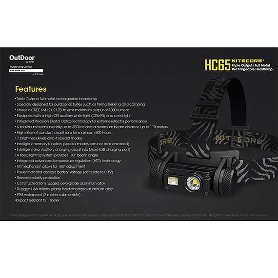 Linterna Frontal LED Nitecore 1000 lúmenes Recargable USB HC65- Image 5