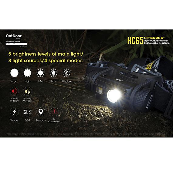 Linterna Frontal LED Nitecore 1000 lúmenes Recargable USB HC65- Image 10