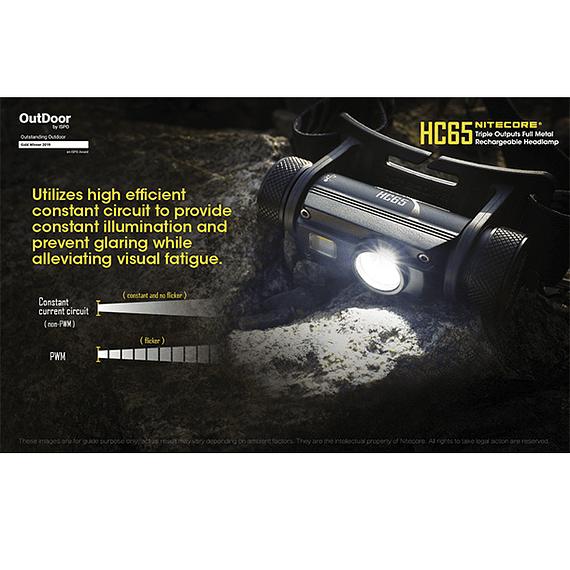 Linterna Frontal LED Nitecore 1000 lúmenes Recargable USB HC65- Image 11