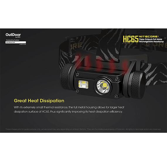 Linterna Frontal LED Nitecore 1000 lúmenes Recargable USB HC65- Image 14