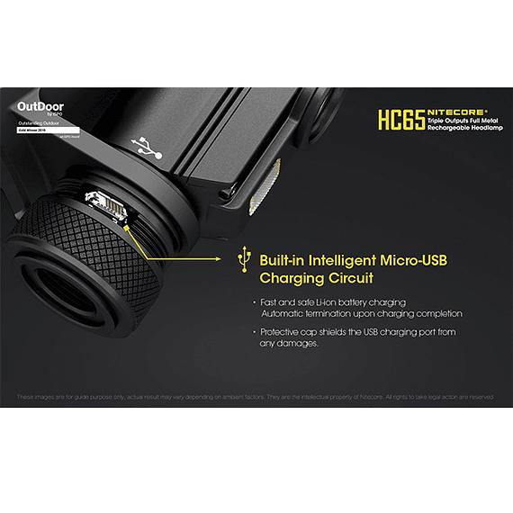 Linterna Frontal LED Nitecore 1000 lúmenes Recargable USB HC65- Image 19