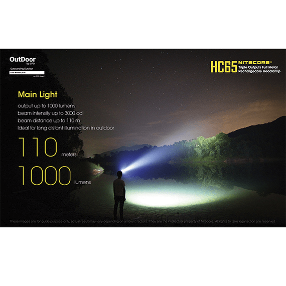 Linterna Frontal LED Nitecore 1000 lúmenes Recargable USB HC65- Image 22