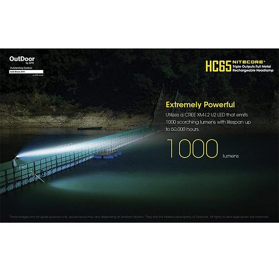 Linterna Frontal LED Nitecore 1000 lúmenes Recargable USB HC65- Image 25