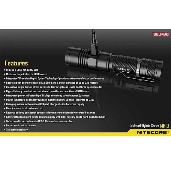 Linterna LED Nitecore 1000 lúmenes Recargable USB MH10- Image 3