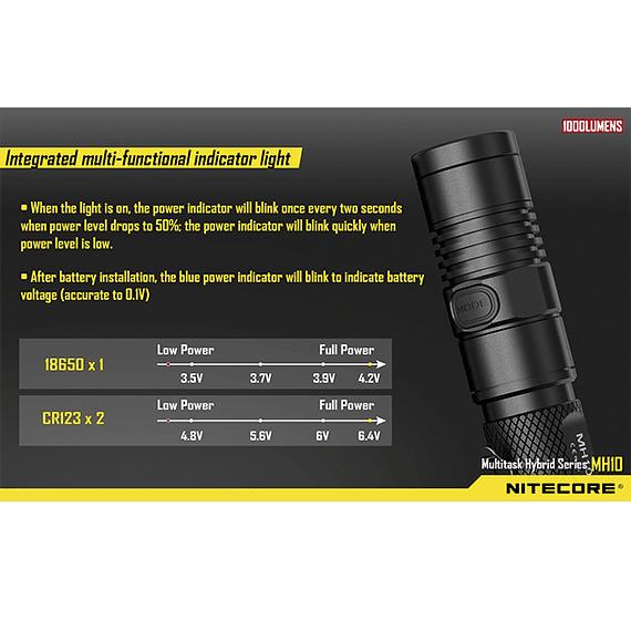 Linterna LED Nitecore 1000 lúmenes Recargable USB MH10- Image 8