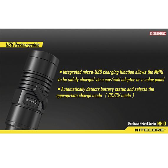 Linterna LED Nitecore 1000 lúmenes Recargable USB MH10- Image 10