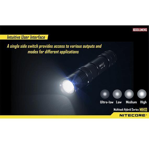 Linterna LED Nitecore 1000 lúmenes Recargable USB MH10- Image 12