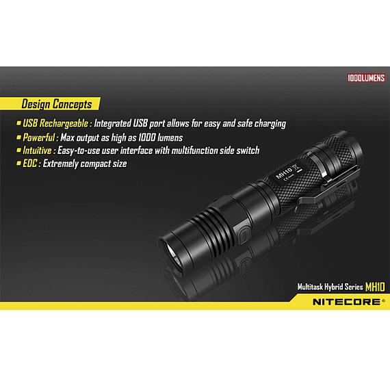 Linterna LED Nitecore 1000 lúmenes Recargable USB MH10- Image 13