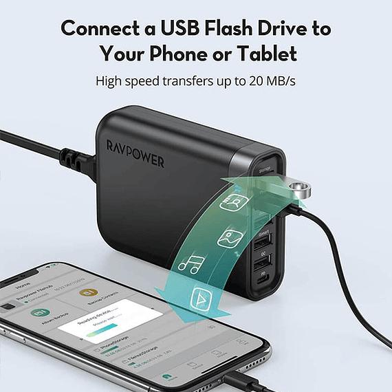 Cargador RAVPower Filehub USB-C 60W con 6 Puertos- Image 5