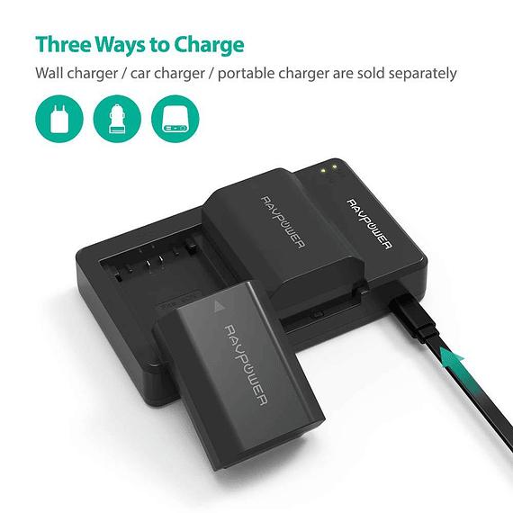 Batería Reemplazo RAVPower Sony NP-FZ100 Kit 2x con Cargador USB- Image 2