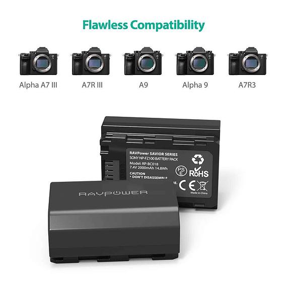 Batería Reemplazo RAVPower Sony NP-FZ100 Kit 2x con Cargador USB- Image 3