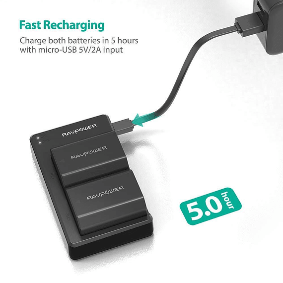 Batería Reemplazo RAVPower Sony NP-FZ100 Kit 2x con Cargador USB- Image 4