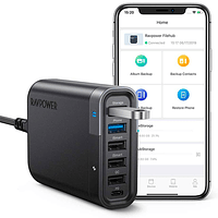 Cargador RAVPower Filehub USB-C 60W con 6 Puertos