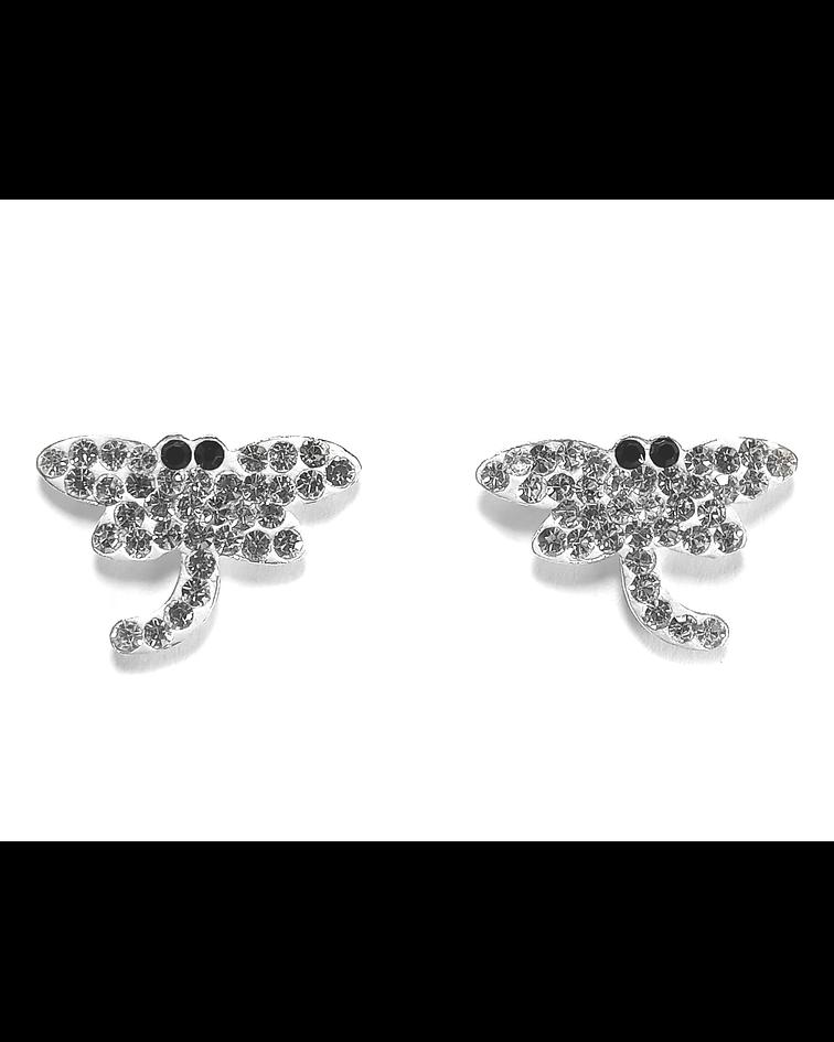 Aros Libélula Cristal Ojos Negro Plata Fina 925