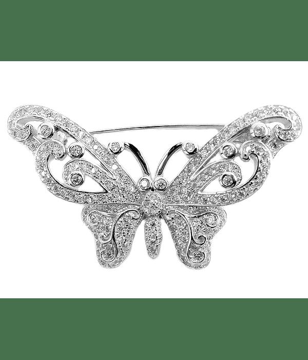 Prendedor Mariposa Circón Plata Fina 925