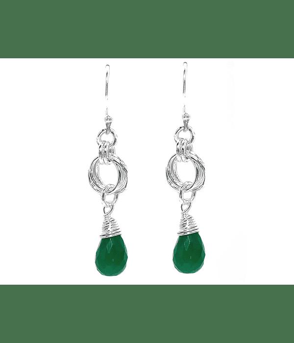 Aros Gota Jade Piedra Natural Plata Fina 925