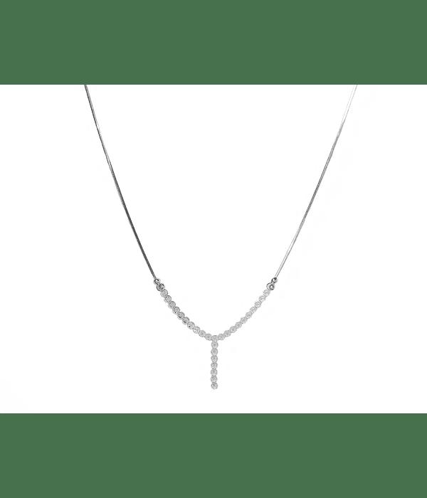 Collar Cristal Blanco Plata Fina 925