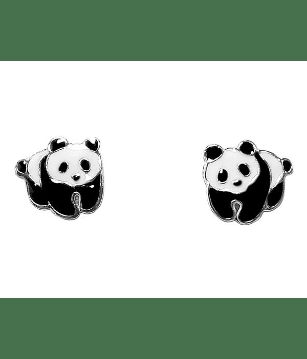 Aros Panda Esmaltado Plata Fina 925