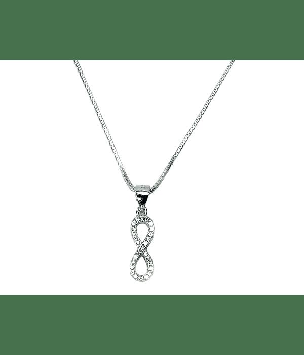 Collar Infinito Circón Plata Fina 925