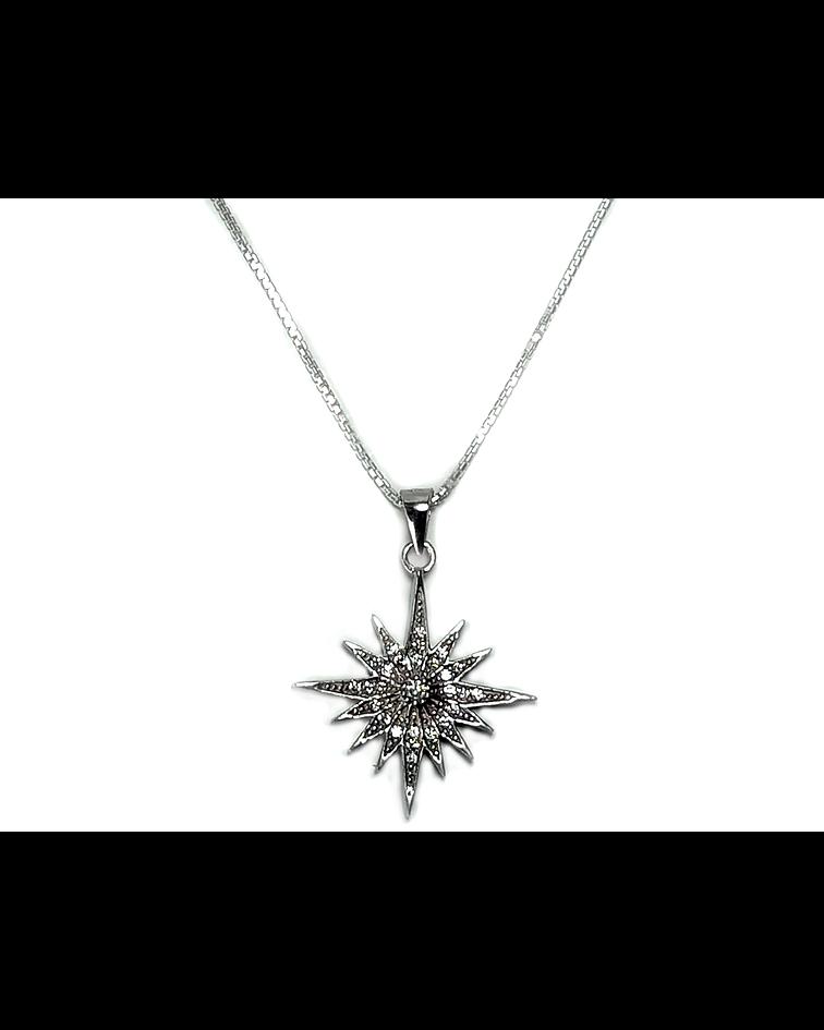 Collar Estrella Fugaz Circón Plata Fina 925