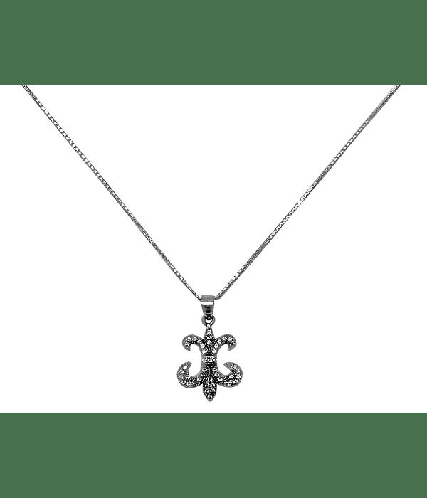 Collar Flor De Lis Circón Plata Fina 925