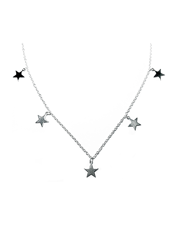 Collar 5 Estrellas Colgantes Plata Fina 925