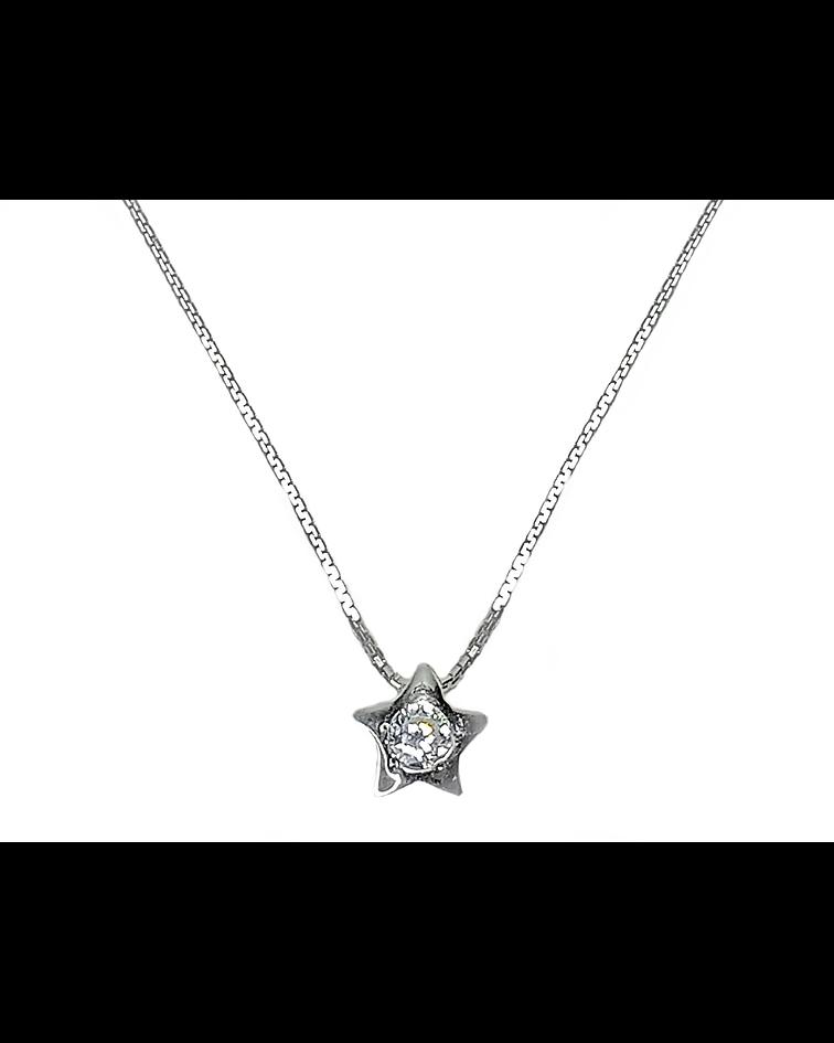 Collar Estrella Circón Punto de Luz Plata Fina 925