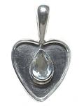 Colgante Corazón Piedra Plata Fina 925