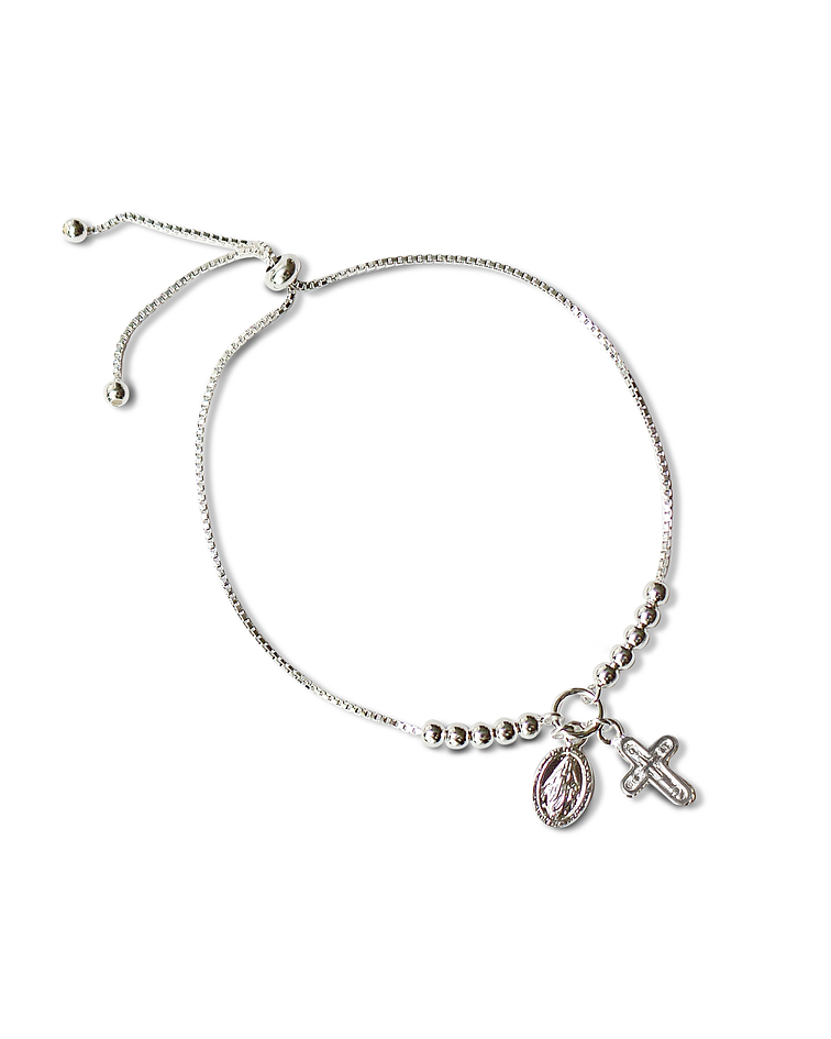 PULSERA ADAPTABLE VIRGEN RAYOS CRUZ PLATA FINA