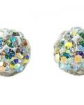 Aros bola de fuego cristal Plata Fina 925