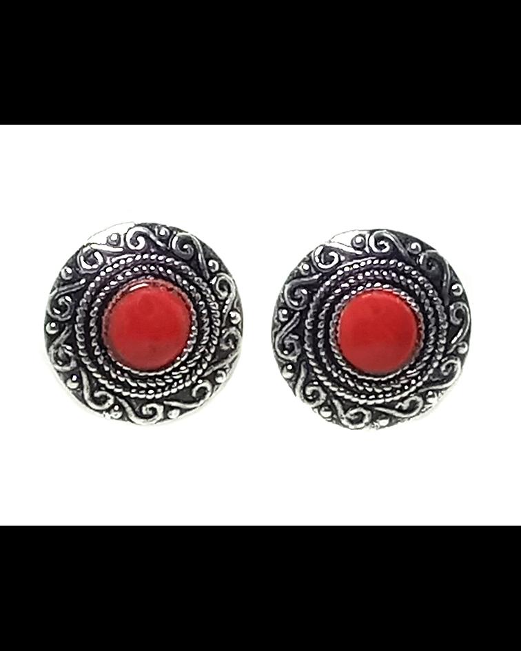 Aros Coral rojo Reconstituido Botón Redondo Plata Fina 925