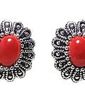 Aros Coral rojo Reconstituido Botón Ovalado Plata Fina 925