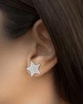 Aros Luna Estrella Colgante Circón Plata Fina 925