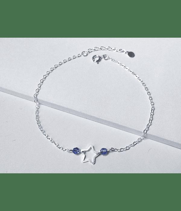 Tobillera Estrella Cristales Plata Fina 925