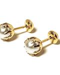 Aros Niña Perla Sintética 5mm Enchapado Oro 18 K