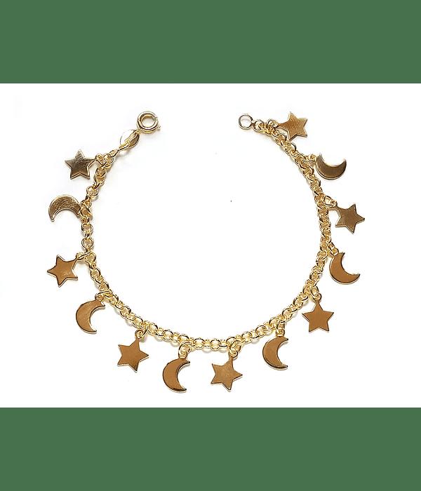 Pulsera Lunas Y Estrellas Enchapado Oro 18 K