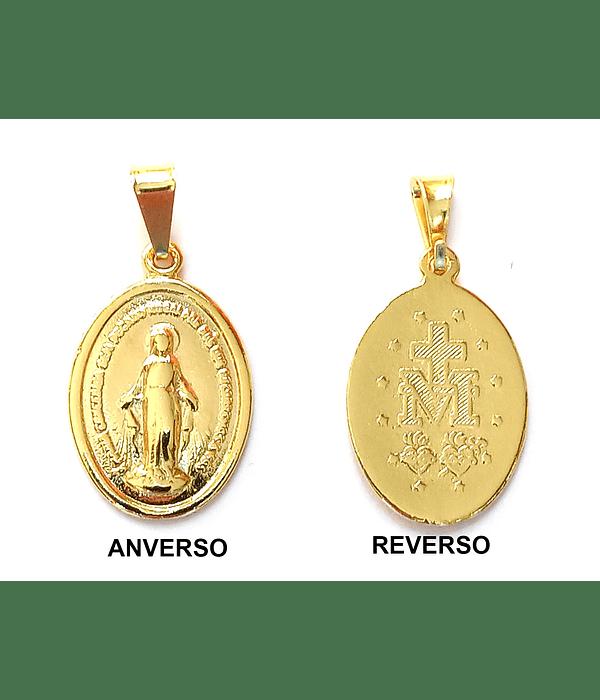 COLGANTE MEDALLA VIRGEN DE LOS RAYOS MEDIANA ENCHAPADO EN ORO 18K