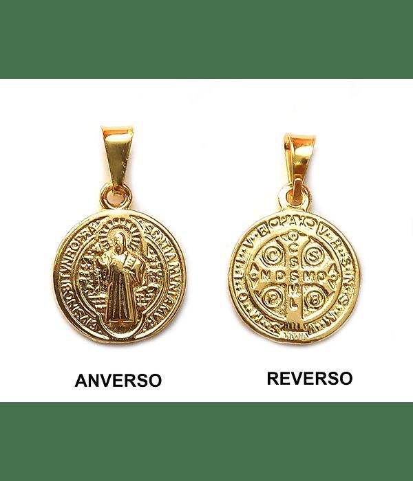 Colgante Medalla San Benito Pequeña Enchapado Oro 18 K