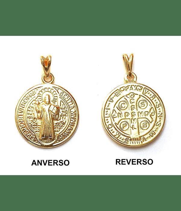 Colgante Medalla San Benito Mediana Enchapado Oro 18 K