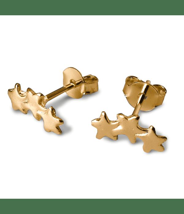 Aros Trepadores 3 Estrella Enchapado Oro 18 K