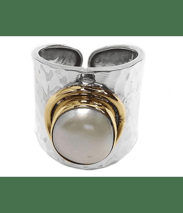Anillo Perla De Río Borde Bronce Plata Fina 925
