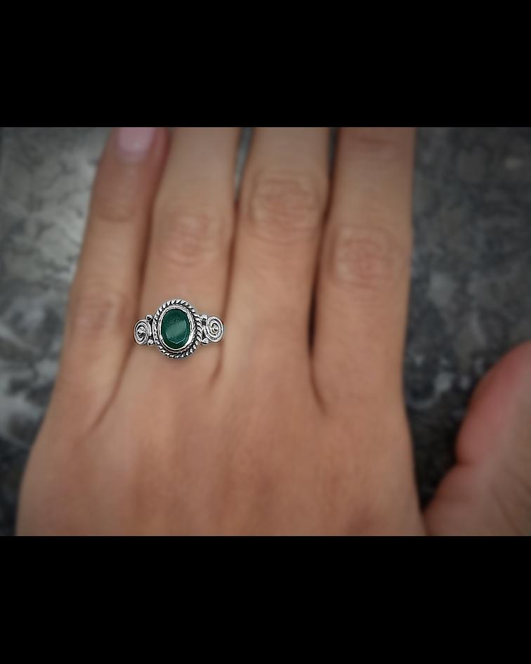 Anillo Jade Oval Facetado Plata Fina 925