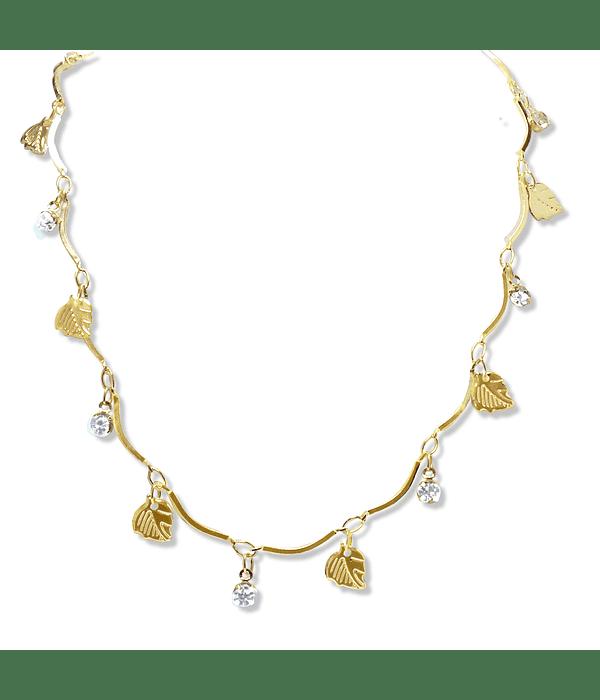 Collar Choker Hojas Circones Enchapado Oro 18 K