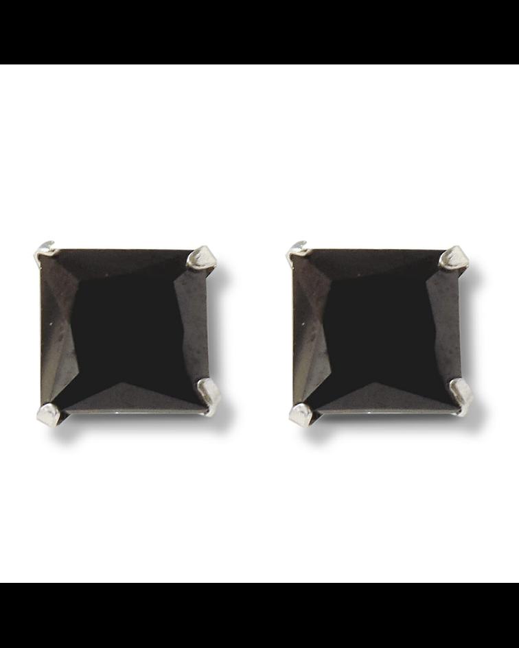Aros Circón Negro Cuadrado 8mm Plata Fina 925