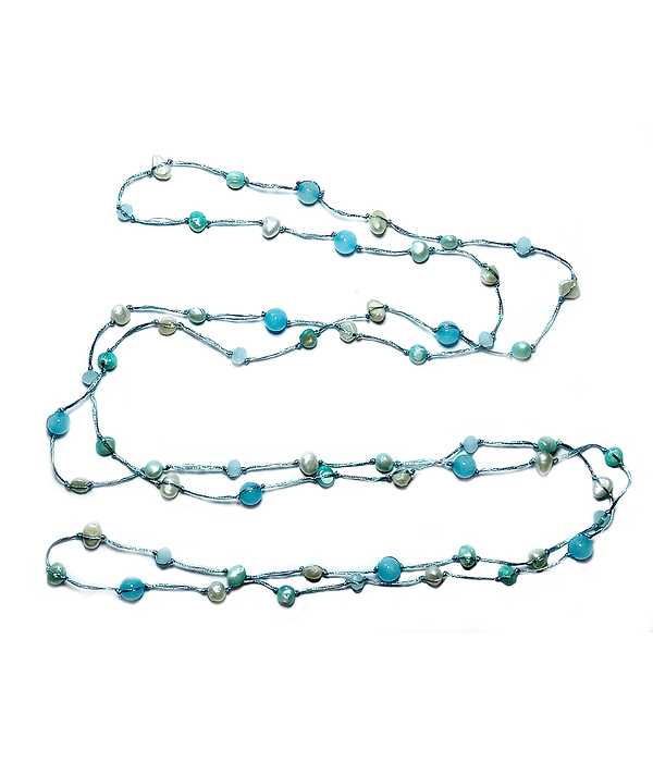 Collar Perlas De Río Celeste Ágata Hilo De Seda