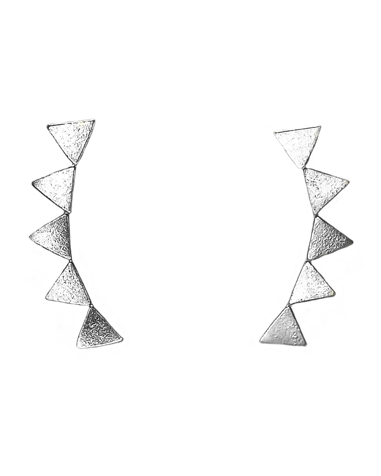 Aros Trepadores Triángulos Plata Fina 925