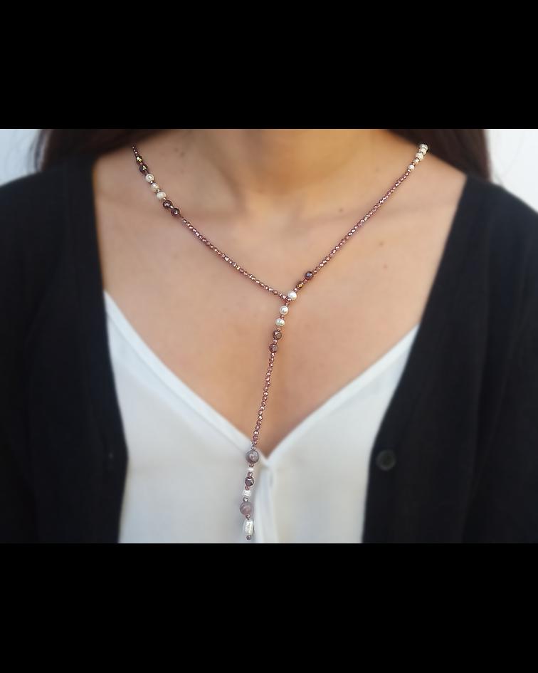 Collar Cristal Morado Perla De Río