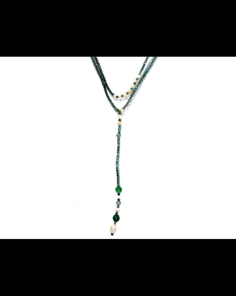 Collar Cristal Verde Tornasol Perla De Río