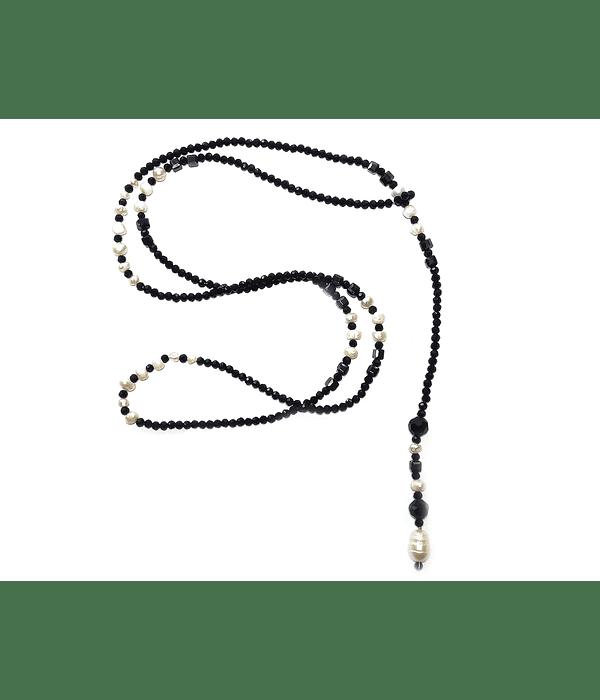 Collar Cristal Negro Perla de Río